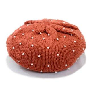 パール付きニットベレー帽 7771000 オレンジ ベビー フリーサイズ キッズ ジュニア 子供 こども 旅行 コーデ 手洗い ネット通販 フリーサイズ 日本製 秋冬