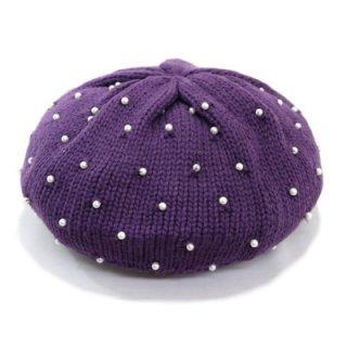 パール付きニットベレー帽 7771000 パープル 紫 ベビー フリーサイズ キッズ ジュニア 子供 こども 旅行 コーデ 手洗い ネット通販 フリーサイズ 日本製 秋冬