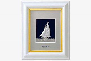 純銀卓上額  ヨット 1号白
