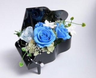 プリザーブドフラワー[ピアノアレンジ/ブラック花器/ハワイアンブルー]可愛いギフト/格安