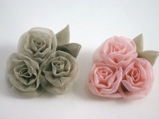 桜染 3つバラ兼用ブローチ