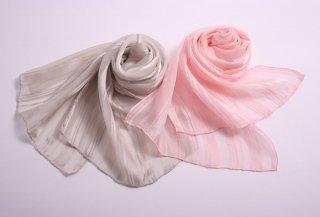 桜染 シルクストライプスカーフ