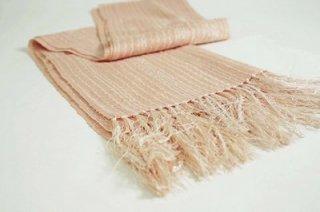 桜染 手織りスピンピコットショール