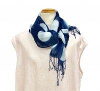 藍染 綿麻かすみ織りスカーフ