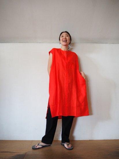 HONNETE  NO COLLAR SHIRTS DRESS [VERMILLON] OP17 5