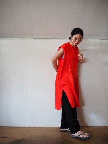 HONNETE  NO COLLAR SHIRTS DRESS [VERMILLON] OP17 6
