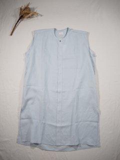 HONNETE  NO COLLAR SHIRTS DRESS [LT BLUE GREY]