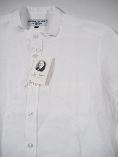 James Mortimer  BAND COLLAR SHIRT HEAVY LINEN 0