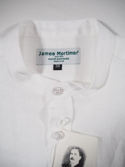 James Mortimer  BAND COLLAR SHIRT HEAVY LINEN 1