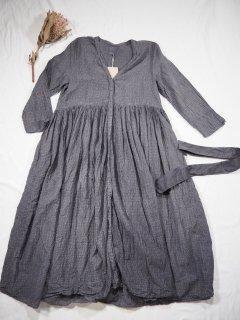 maison de soil RAJASTHAN TUCK GATHERED WRAP DRESS [DK.GREY]