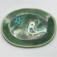 野口あき子 楕円皿 kotori-green