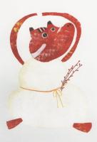 米澤知世 ポストカード「おしょうがつ あかべこ」