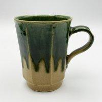 栗谷昌克 緑釉 面取りマグカップ