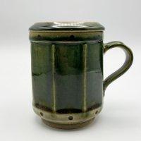 栗谷昌克 緑釉 蓋付きマグカップ
