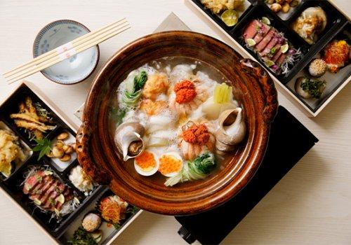 【忘年会コース】お料理詰め合わせと金沢おでん(蟹面や梅貝付き)セット1人前4000円(税別)※2人前より