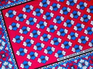 【カンガ】 レッド×ブルー フラワー 東アフリカ民族布