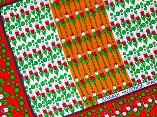 【カンガ】 ダークレッド×イエローブラウン チューリップ 東アフリカ民族布