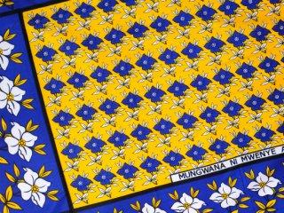 【カンガ】 イエロー×ブルー フラワー 東アフリカ民族布