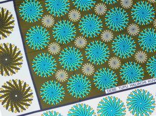 【カンガ】 エメラルドブルー×モスグリーン フラワー 東アフリカ民族布
