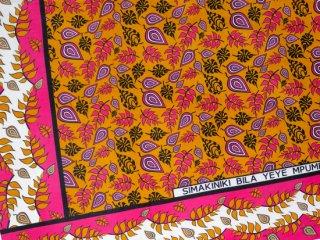 【カンガ】 ベージュ×ピンク リーフ 東アフリカ民族布