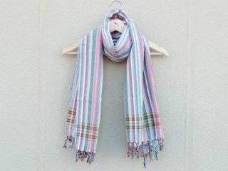 【キコイ】 ブルー×ピンク系 ストライプ 東アフリカ伝統布