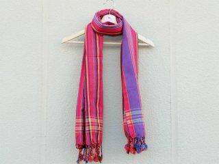 【キコイ】 ピンク×パープル系 ストライプ 東アフリカ伝統布