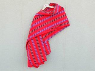 【マサイシュカ】 赤×青 ボーダー 東アフリカ・マサイ族伝統布