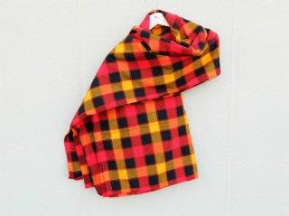 【マサイシュカ】 赤×黄×黒 ラインチェック 東アフリカ・マサイ族伝統布