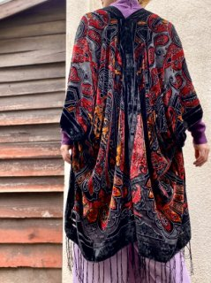 【SHEER×VELVET HAORI RED】
