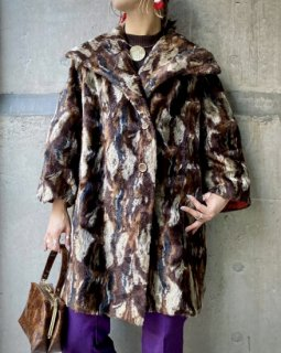 【1970s MULTI COLOR FUR COAT】