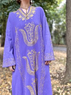 【1970s EMBROIDERD KAFTAN DRESS PURPLE】