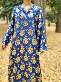 【1970s FLOWER PATTERN KAFTAN DRESS】