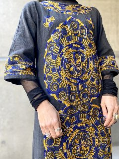 【1960-70s EMBROIDERED KAFTAN DRESS】