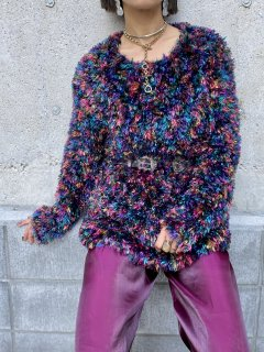 【MULTI COLOR FRINGE KNIT TOP】