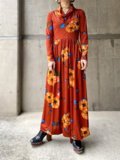 【1970s FLOWER PATTERN MAXI DRESS】