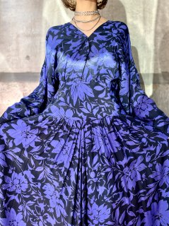 【1980s BI-COLOR FLORAL DRESS】