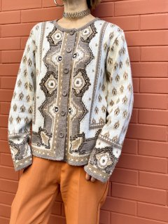 【JACQUARD DESIGN KNIT CARDIGAN】