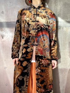 【CHINESE DESIGN VELVET LONG BLOUSE】
