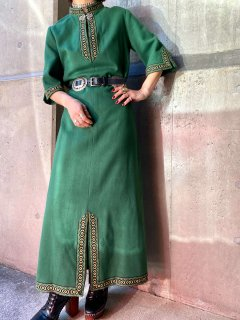 <img class='new_mark_img1' src='https://img.shop-pro.jp/img/new/icons14.gif' style='border:none;display:inline;margin:0px;padding:0px;width:auto;' />【1960s NORDIC DESIGN GREEN DRESS】
