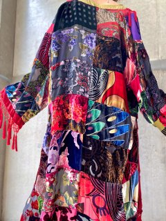 【PATCHWORK SHEER SILK  FRINGE GOWN】