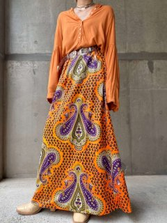 【1970s PAISLEY PATTERN ORANGE MAXI SKIRT】