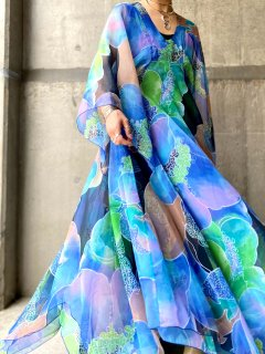 【1970s MULTI COLORED CHIFFON DRESS】