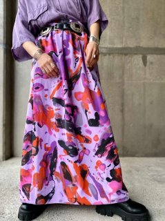 【ARTISTIC PATTERN PURPLE MAXI SKIRT】