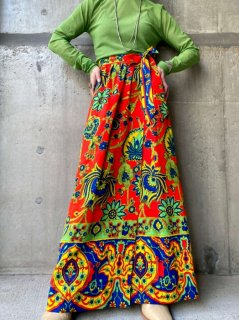 【1970s PSYCHEDELIC PATTERN MAXI WRAP SKIRT】