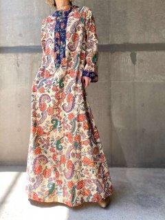 【1970s PAISLEY BOHO MAXI DRESS】