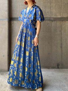 【1970s CHINA PATTERN MAXI DRESS】