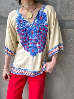 【1970s FLOWERS EMBROIDERY TOP】