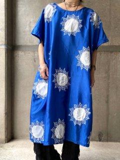 【SUN EMBROIDERY BLUE DRESS】