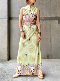 【1970s GEISYA PATTERN MAXI DRESS】