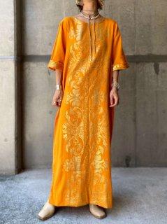 【1970s GREEK EMBROIDERY DRESS ORANGE】